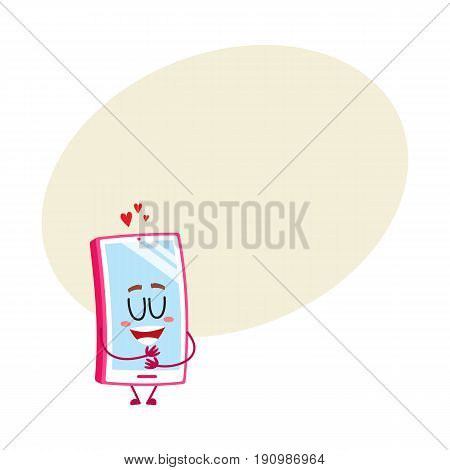Funny cartoon mobile phone, smartphone character hugging itself, showing love, vector illustration with space for text. Pink cartoon mobile phone, smartphone character all in love