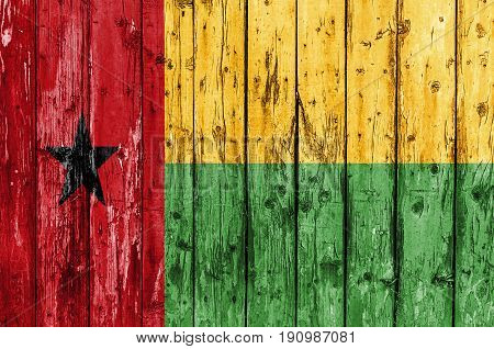 Flag of Guinea Bissau painted on wooden frame