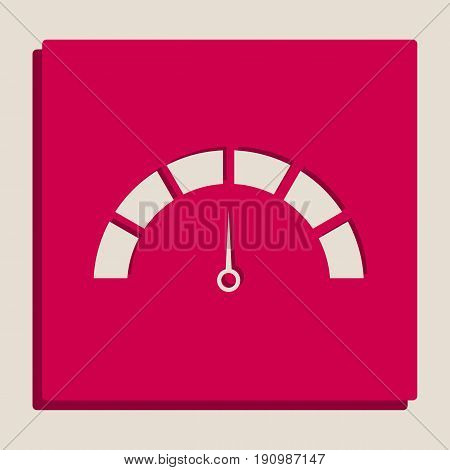 Speedometer sign illustration. Vector. Grayscale version of Popart-style icon.