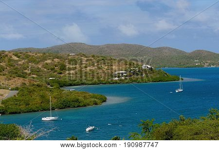 Culebra lagoon, view from the top A beautiful lagoon surrounded by green islands in Culebra Island, Puerto Rico