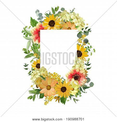 Vector design square card. Yellow sunflower cosmos flower hydrangea flowers dahlia eucalyptus jasmine branches leaves. Delicate Greeting invitation wedding editable design template isolated white