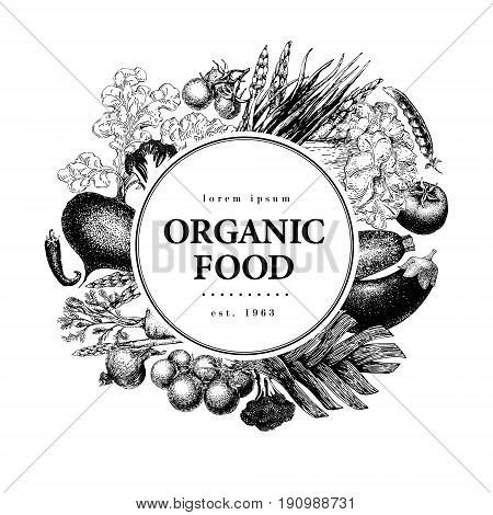 Vegetable hand drawn vector illustration. Vintage Vegetable engraved style banner, logo template. Can be use for menu, packaging, label, farm market
