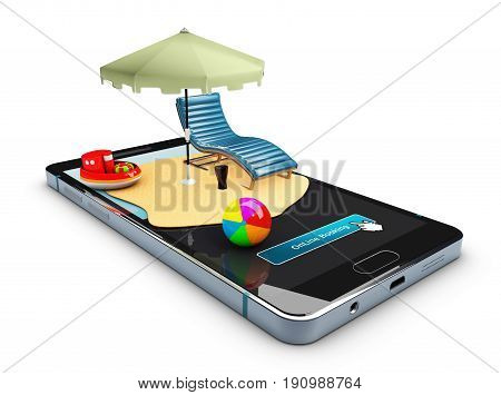 Online Booking Mobile App Mockup Showcase, 3D Illustration