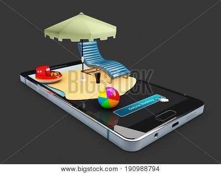 3D Illustration Of Online Booking Mobile App Mockup Showcase, Sun Umbrella, Chair And Toys On The Sm