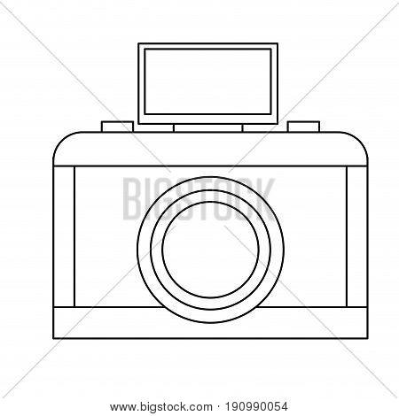 analog camera with flash light photo equipment vector illustration
