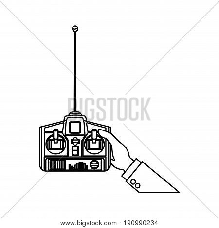 hands holding control remote advanced for drones vector illustration