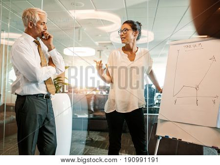 Businesswoman explaining the new business plan to achieve the targets to colleagues. Business people meeting near flip chart in office.
