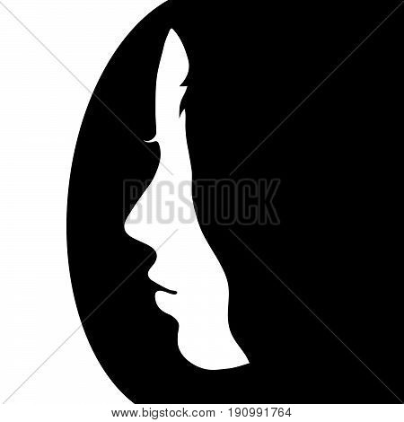 Girl Face Beauty Illustration In Black And White Color