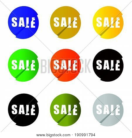 Sale Icon Set In Circle Color Illustration