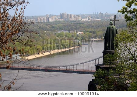 KIEV, UKRAINE - MAY 1, 2011: Vladimirskaya Gorka is park on the hill above the right bank of the Dnieper with a monument to Prince Vladimir the Baptist.