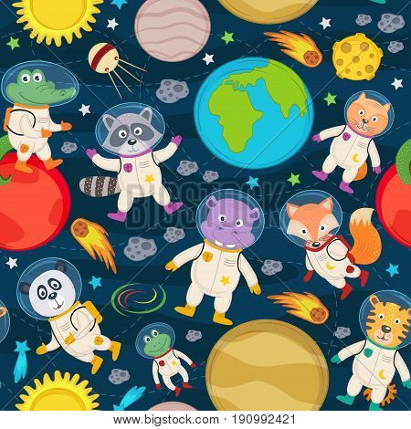 seamless pattern with animals in space- vector illustration, eps