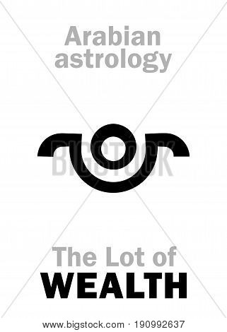 Astrology Alphabet: Lot of WEALTH, Arabian point of horoscope. Hieroglyphics character sign (single symbol).