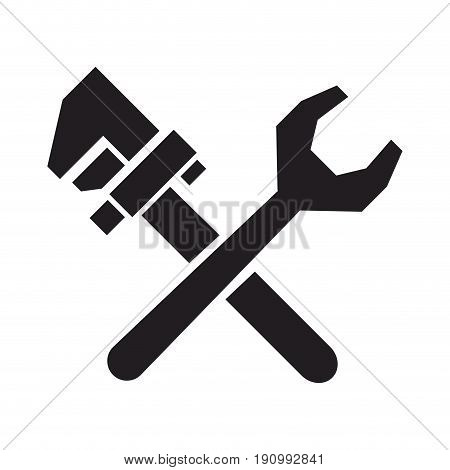 plumbing spanner and adjustable wrench repair tool crossed vector illustration