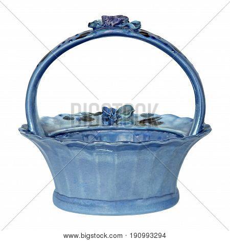 Blue empty porcelain bowl isolated on white background.