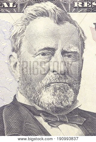 Ulysses S. Grant Face On Us Fifty Or 50 Dollars Bill Macro, United States Money Closeup.