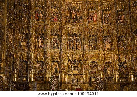 Retablo Mayor Inf Seville Cathedral, Seville, Andalusia, Spain