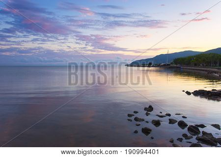 Cairns foreshore at sunrise in Tropical North Queensland, Australia
