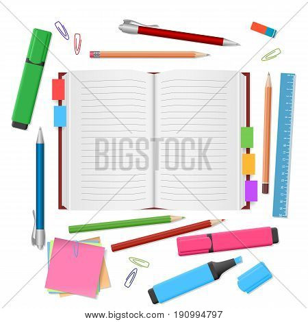 School supplies, open notebook, colour pencils, stickers, markers, pens, ruler, eraser on white background. Back to school. Education and school concept. Vector illustration