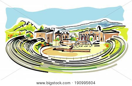 vector illustration of Greek Theatre of Taormina in Sicily