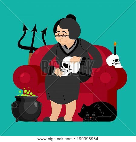 Witch in chair. Skull and black cat. Sorceress and Magic Pot Potion