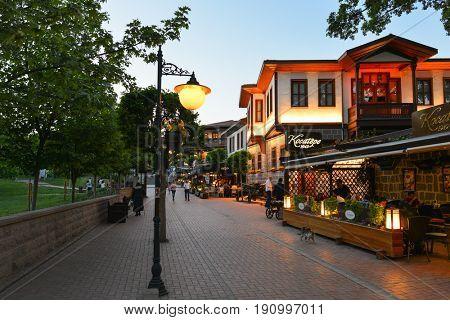 ANKARA, TURKEY - 15 May 2017: Renovated historical streets in Hamamonu is a new tourist magnet in Ankara, The Capital city of Turkey