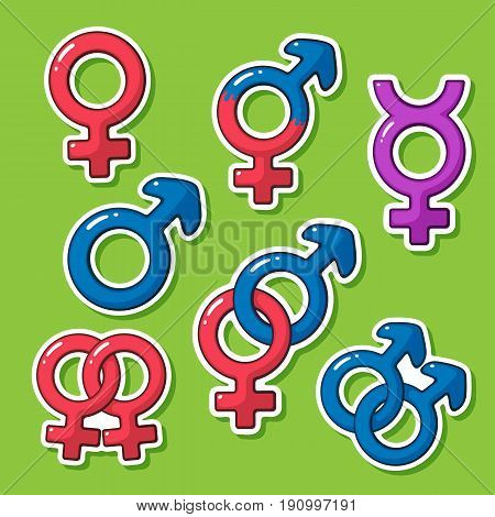 Vector illustration. Sticker set of gender symbols in cartoon style with contour. Decoration for greeting cards, patches, prints for clothes, badges, posters