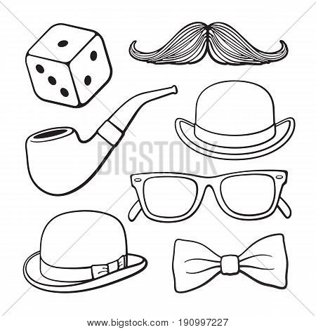 Vector illustration. Set of gentlemen's vintage accessories. Men's fashion and style. Hand drawn doodles. Decoration for signboards, showcases, greeting cards, wallpapers