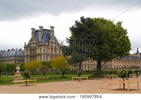 Louvre museum from the Tuileries garden Springtime