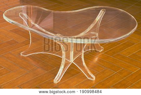 HDR photo image of a clear acrylic modern table