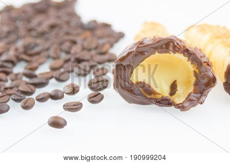 Delicious Sicilian Cannolo Cannellino Sweet With Pastry Hazelnut Near Coffee Beans