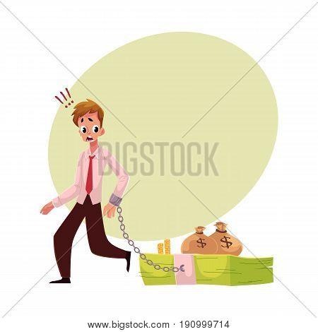 Young man with hand chained to bundle of banknotes, money dependence concept, cartoon vector illustration with space for text. Man with hand chained to bundle of money, financial dependence