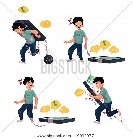 Teenage boy chained to, carrying, using smartphone, phone dependence concept, cartoon vector illustration isolated on white background. Boy chained to phone, dependence on likes, chatting, messages