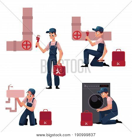 Plumbing specialist at work, repairing sewage pipes, sink, washing machine, cartoon vector illustration isolated on white background. Plumber, plumbing specialist, repairman at work, fixing, repairing