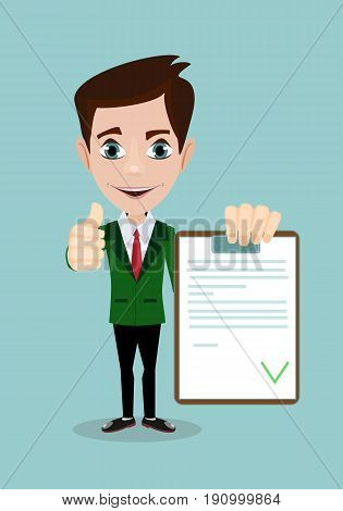 man with a questionnaire . good exam results paper sheet , quiz form idea, interview assessment illustration
