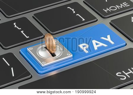Pay concept blue keyboard button. 3D rendering