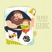 Cute daughter reading bedtime story to his father. Funny cartoon characters. Vector illustration in retro style poster