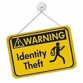 Identity theft warning sign A yellow warning hanging sign with text Identity Theft and theft icon isolated over white 3D Illustration poster