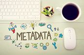 Metadata concept with workstation on a light green wooden desk poster