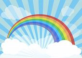 Rainbow across vast skies. Rainbow, sky, sun rays and clouds poster