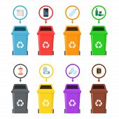 Garbage cans with sorted garbage on a white background. Sorting of food waste, paper, glass, metal, plastic and electronics. Recycling of garbage for reuse. poster