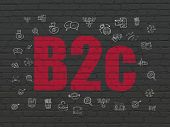 Business concept: Painted red text B2c on Black Brick wall background with  Hand Drawn Business Icons poster