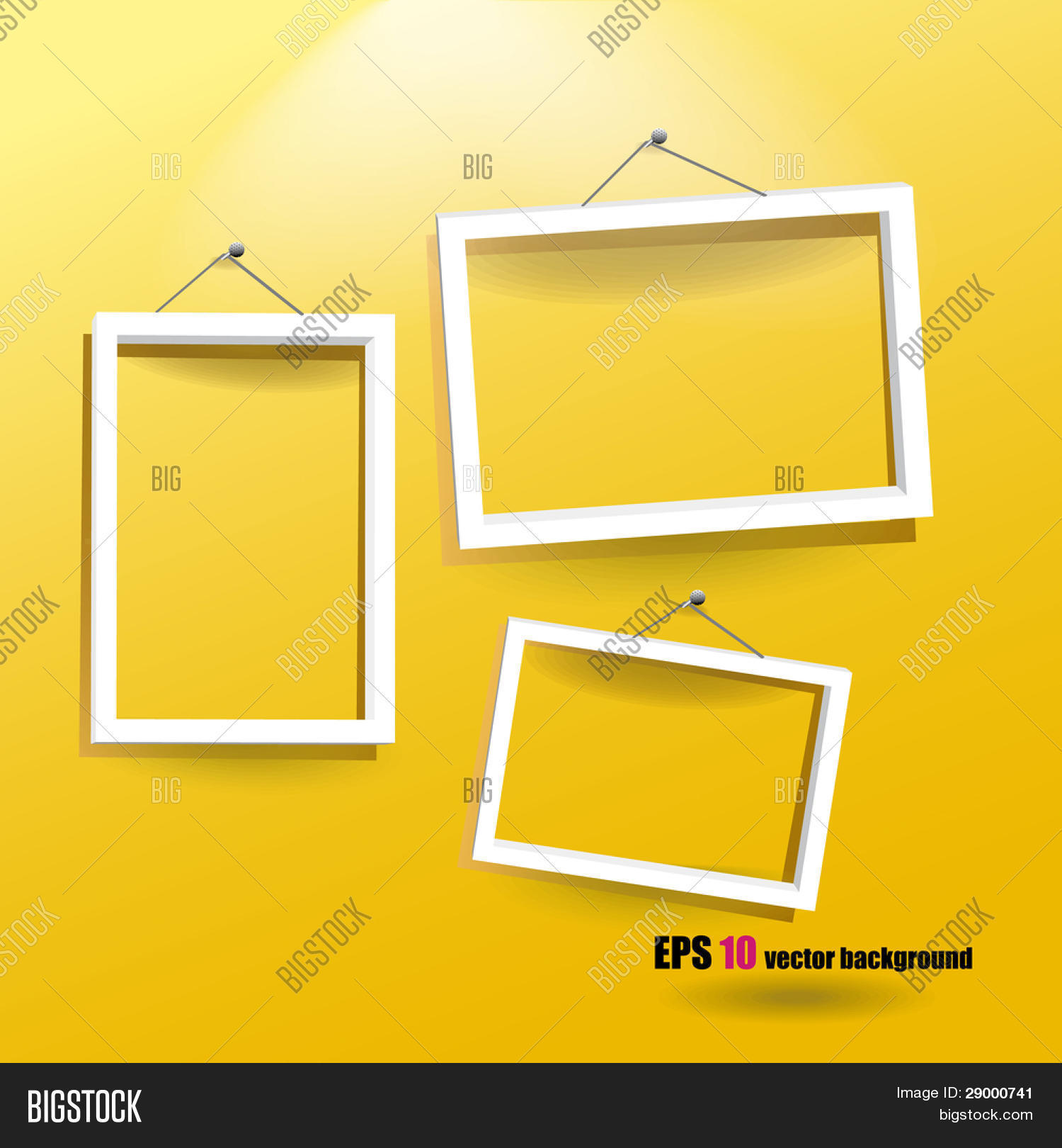 White Frames On Yellow Wall Vector & Photo | Bigstock