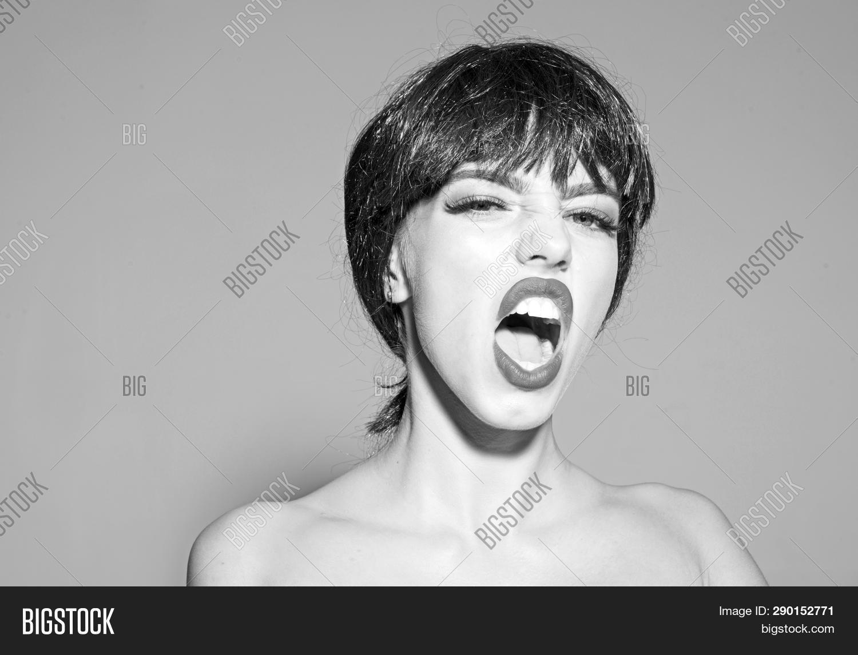 Lady black wig make on image photo free trial bigstock