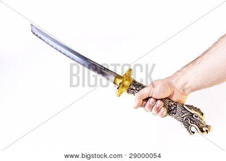 Man's Arm Holding A Katana
