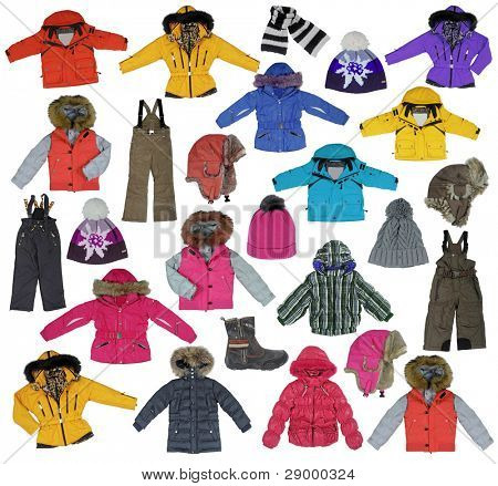 collection of children's winter clothing