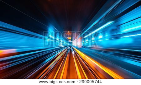 Train Moving Fast In The Tunnel Abstract Background