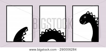 Monochrome Posters With Cute Dinosaur. Vector Set Decor For Walls. Black And White Drawing In The Sc