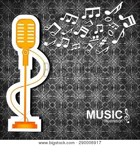 Dark Textured Music Background With Big Orange Microphone And White Notes Flat Vector Illustration