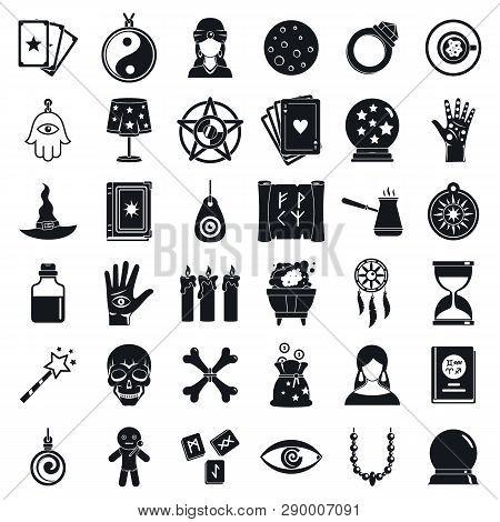 Fortune Teller Icons Set. Simple Set Of Fortune Teller Vector Icons For Web Design On White Backgrou