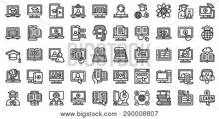 Elearning Icons Set. Outline Set Of Elearning Vector Icons For Web Design Isolated On White Backgrou